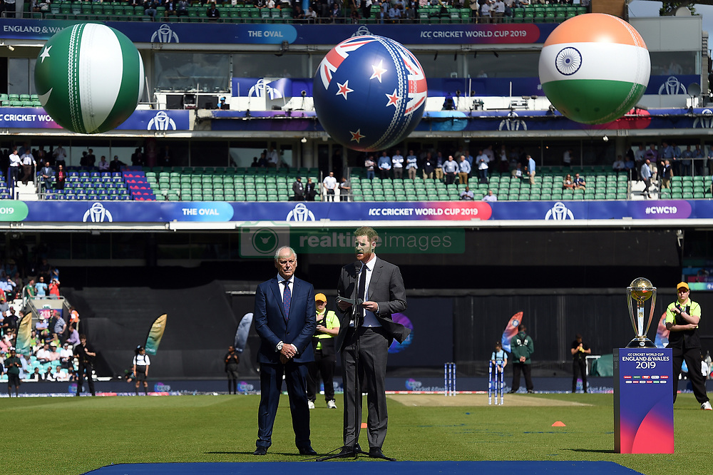 The Duke of Sussex speaks ahead of the opening match of the 2019 ICC Cricket World Cup between England and South Africa at The Oval in London.