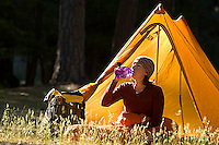 Young woman backpacking in Yosemite National Park, CA<br />