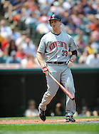 Justin Morneau of Minnesota reacts after striking out..The Minnesota Twins defeated the Cleveland Indians 4-2 on Sunday, July 27, 2008 at Progressive Field in Cleveland.