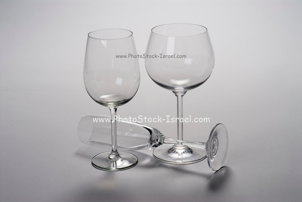 Empty Wine glasses on white backgroumd