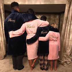 """Katie Price releases a photo on Instagram with the following caption: """"It\u2019s that time of year again \u2764\ufe0f Too cosy! Everyone needs their own personalised robe this Christmas. \nGet yours at www.robes4you.com @robes4you\nUse code KATIE for your 10% discount \u2764\ufe0f #ad"""". Photo Credit: Instagram *** No USA Distribution *** For Editorial Use Only *** Not to be Published in Books or Photo Books ***  Please note: Fees charged by the agency are for the agency's services only, and do not, nor are they intended to, convey to the user any ownership of Copyright or License in the material. The agency does not claim any ownership including but not limited to Copyright or License in the attached material. By publishing this material you expressly agree to indemnify and to hold the agency and its directors, shareholders and employees harmless from any loss, claims, damages, demands, expenses (including legal fees), or any causes of action or allegation against the agency arising out of or connected in any way with publication of the material."""