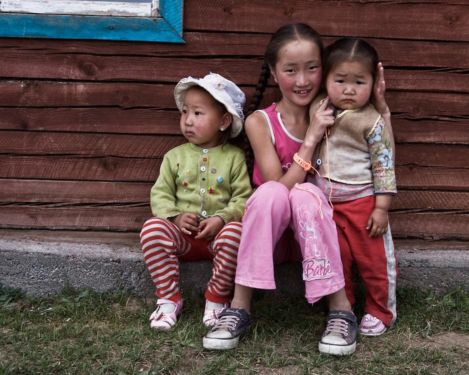 Mongolian kids hanging out