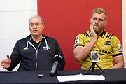Hurricanes' coach Chris Boyd (L) and captain Brad Shields (R) addressing the media during the Super Rugby match between Hurricanes vs Blues, Westpac Stadium, Wellington, Saturday 07th July 2018. Copyright Photo: Raghavan Venugopal / © www.Photosport.nz 2018