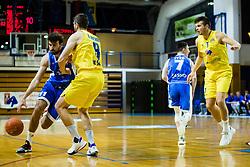 Jakov Stipaničev of Zlatorog Lasko vs Ramo Rizvić of GGD Sencur during basketball match between GGD Sencur and Zlatorog Lasko in First Round of 1. SKL 2020/21, on October 31, 2020 in Sport hall Sencur, Sencur, Slovenia. Photo by Grega Valancic / Sportida