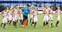 DEN BOSCH -   Oranje na  de wedstrijd tussen de mannen van Jong Oranje  en Jong Engeland (2-0), tijdens het Europees Kampioenschap Hockey -21. ANP KOEN SUYK