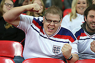 an England fan cheering before k/o. England v Spain, Football international friendly at Wembley Stadium in London on Tuesday 15th November 2016.<br /> pic by John Patrick Fletcher, Andrew Orchard sports photography.
