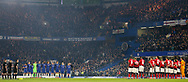 Both teams observe a minutes applause for the late Gordon Banks during the The FA Cup 5th round match between Chelsea and Manchester United at Stamford Bridge, London, England on 18 February 2019.