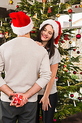 Man hiding Christmas gift from wife