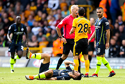 Sergio Aguero of Manchester City lies on the ground injured - Mandatory by-line: Robbie Stephenson/JMP - 25/08/2018 - FOOTBALL - Molineux - Wolverhampton, England - Wolverhampton Wanderers v Manchester City - Premier League