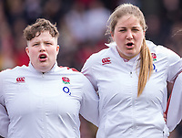 England Women's Hannah Botterman and England Women's Poppy Cleallsing the anthem<br /> <br /> Photographer Bob Bradford/CameraSport<br /> <br /> 2020 Women's Six Nations Championship - England v Wales - Saturday 7th March 2020 - The Stoop - London<br /> <br /> World Copyright © 2020 CameraSport. All rights reserved. 43 Linden Ave. Countesthorpe. Leicester. England. LE8 5PG - Tel: +44 (0) 116 277 4147 - admin@camerasport.com - www.camerasport.com