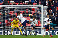 Dusan Tadic of Southampton (R) scores his team's second goal. Premier league match, Tottenham Hotspur v Southampton at Wembley Stadium in London on Boxing Day Tuesday 26th December 2017.<br /> pic by Steffan Bowen, Andrew Orchard sports photography.