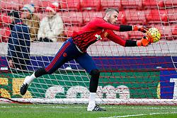 David De Gea of Manchester United warms up - Mandatory byline: Rogan Thomson/JMP - 26/12/2015 - FOOTBALL - Britannia Stadium - Stoke, England - Stoke City v Manchester United - Barclays Premier League - Boxing Day Fixture.