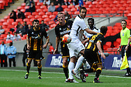 Mike Symons of Hereford FC wins a header during the FA Vase match between Hereford FC and Morpeth Town at Wembley Stadium, London, England on 22 May 2016. Photo by Mike Sheridan.
