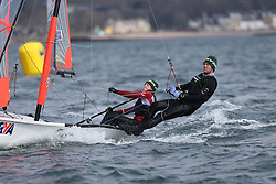 Day 1 of the RYA Youth National Championships 2013 held at Largs Sailing Club, Scotland from the 31st March - 5th April. .2025, Matt VENABLES, Will ALLOWAY, Sutton SC, 29er..For Further Information Contact..Matt Carter.Racing Communications Officer.Royal Yachting Association.M: 07769 505203.E: matt.carter@rya.org.uk ..Image Credit Marc Turner / RYA..