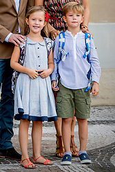 Prince Vincent and Princess Josephine of Denmark pose outside Amalienborg palace in Copenhagen, Denmark, on Tuesday August 15, 2017. Prince Vincent and Princess Josephine, both born in 2011, begin in grade 0 at Tranegard School in Hellerup on Tuesday. The twins are the youngest children of the crown princely couple. Photo by Robin Utrecht/ABACAPRESS.COM