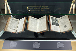 © Licensed to London News Pictures. 21/4/2016. Birmingham, UK. Rare and unseen Shakespeare items, including the first Folio are to go on display in a free exhibition at Birmingham Library from tomorrow. Pictured, the first Folio, one of the main items in the exhibition. Photo credit : Dave Warren/LNP