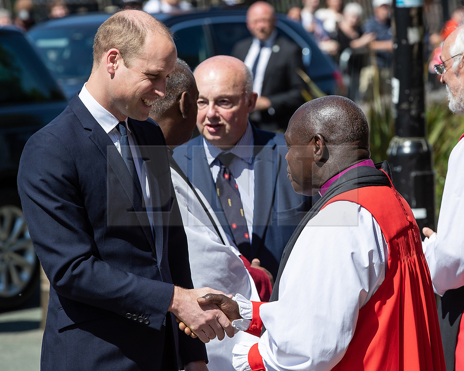 © Licensed to London News Pictures . 22/05/2018 . Manchester , UK . PRINCE WILLIAM is greeted by dignitaries , including JOHN SENTAMU at Manchester Cathedral ahead of a Service of Remembrance on the first anniversary of the Manchester Arena bombing . On the evening of 22nd May 2017 , Salman Abedi murdered 22 people and seriously injured dozens more , when he exploded a bomb in the  foyer of the Manchester Arena as concert-goers were leaving an Ariana Grande gig . Photo credit : Joel Goodman/LNP