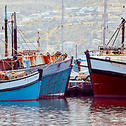 Some of the fishing vessels in Hout Bay, Cape Town area, South Africa.