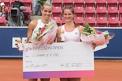 Arantxa Rus (Netherlands) and Quirine Lemoine (Netherlands) won the doubles tournament at the 2017 WTA Ericsson Open in Båstad, Sweden, July 30, 2017. Photo Credit: Katja Boll/EVENTMEDIA.