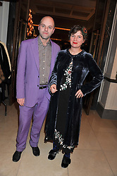 GAVIN TURK and DEBORAH CURTIS at a dinner hosted by Pablo Ganguli and Ella Krasner to celebrate the 10th Anniversary of Liberatum and in honour of Sir Peter Blake held at The Corinthia Hotel, Nortumberland Avenue, London on 23rd November 2011.