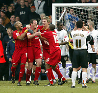 Photo: Chris Ratcliffe.<br />Luton Town v Watford. Coca Cola Championship.<br />02/01/2006.<br />Malkay Mackay (2nd Left) of Watford celebrates his goal and Watford's second.