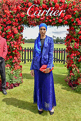 Ikram Abdi Omar at the Cartier Queen's Cup Polo 2019 held at Guards Polo Club, Windsor, Berkshire. UK 16 June 2019. <br /> <br /> Photo by Dominic O'Neill/Desmond O'Neill Features Ltd.  +44(0)7092 235465  www.donfeatures.com