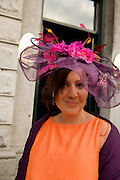 Tara Mulleary from Cavan  at Hotel Meyrick in Eyre Sq. Galway for their best dressed Lady Competition during Galway's Race week . Photo:Andrew Downes