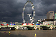 The Coco-cola  London Eye set against a moody London sky is the worlds largest  ferris wheel, situated on the South bank of the River Thames in London. Designed by Marks Barfiled Architects and currently owned by London Eye Management Services. London, 19th October 2016. (photo by Andrew Aitchison / In pictures via Getty Images)