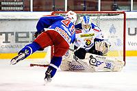 Ishockey , 19. Januar 2014, GET-Liga ,<br /> Vålerenga Hockey - Sparta Warriors<br /> Brendan Brooks - VIF <br /> Gasper Kroselji , keeper , Sparta<br /> Foto: Sjur Stølen , Digitalsport
