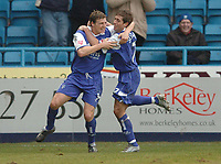 Picture: Henry Browne.<br /> Date: 26/02/2005.<br /> Gillingham v Wigan Athletic Coca Cola Championship.<br /> Darius Henderson celebrates with Nicky Southall after scoring the winning goal for Gills.