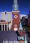 Harrisburg, PA,  City Center Street Scape, Market Square Presbyterian Church Steeple, Penn Mutual Insurance