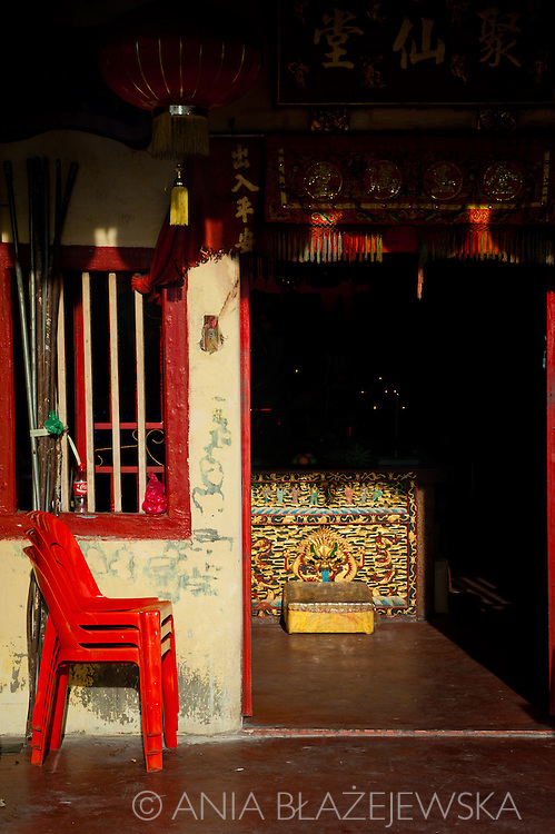 Malaysia, Georgetown. Chinese shrine in one of the streets.