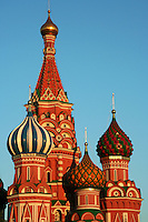 St Basil's onion domes at Red Square the Kremlin - The Cathedral of the Protection of Most Holy Theotokos on the Moat is popularly known as Saint Basil's Cathedral   a Russian Orthodox church erected on the Red Square in Moscow.