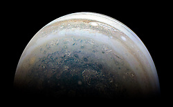 July 2, 2018 - Jupiter Atmosphere - Image Released Today: This image of Jupiter's southern hemisphere was captured by NASA's Juno spacecraft on the outbound leg of a close flyby of the gas-giant planet. Citizen scientist Kevin M. Gill created this image using data from the spacecraft's JunoCam imager. The color-enhanced image was taken at 11:31 p.m. PDT on May 23, 2018 as the spacecraft performed its 13th close flyby of Jupiter. At the time, Juno was about 44,300 miles from the planet's cloud tops, above a southern latitude of 71 degrees (Credit Image: © JPL-Caltech/NASA via ZUMA Wire/ZUMAPRESS.com)