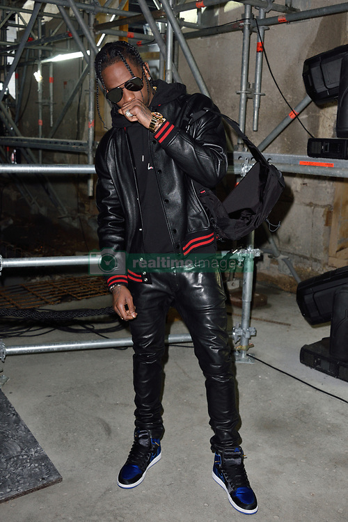 Travis Scott arriving at the Saint Laurent show during Paris Fashion Week Ready to wear FallWinter 2017-18 on February 28, 2017 in Paris, France  Photo by Alban Wyters /ABACAPRESS.COM    584108_089 Paris France
