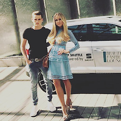 """Jenny Elvers releases a photo on Instagram with the following caption: """"#berlin #motherandsonontour #ohmygoditsfashionweek #fashionweek #fashionpost #tollezeit #blond #blondhair #dreamteam #inspiration @christ_juweliere @reichertplus @fourflavor @gucci @puma @mgm.models @_celebritynetwork_ @shanrahimkhangermany \nGreat Show\ud83d\udc4f @riani_fashion"""". Photo Credit: Instagram *** No USA Distribution *** For Editorial Use Only *** Not to be Published in Books or Photo Books ***  Please note: Fees charged by the agency are for the agency's services only, and do not, nor are they intended to, convey to the user any ownership of Copyright or License in the material. The agency does not claim any ownership including but not limited to Copyright or License in the attached material. By publishing this material you expressly agree to indemnify and to hold the agency and its directors, shareholders and employees harmless from any loss, claims, damages, demands, expenses (including legal fees), or any causes of action or allegation against the agency arising out of or connected in any way with publication of the material."""