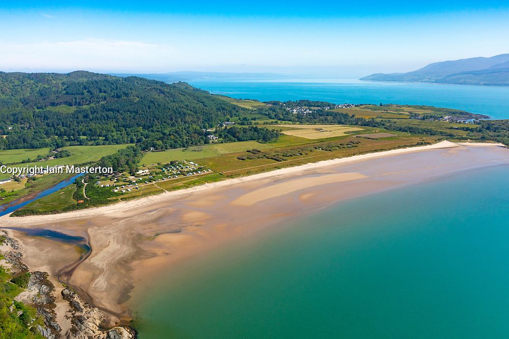 Aerial view from drone of Carradale Bay Beach on Kintyre peninsula, Argyll and Bute, Scotland, Uk