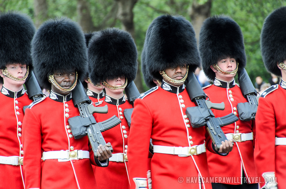 Grenadier Guards in Formation 169-111016747x The Changing of the Queen's Guard ceremony at Buckingham Palace in London.
