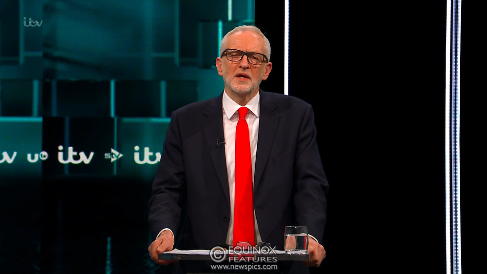 Broadcast TV, United Kingdom - 19 November 2019<br /> Labour leader Jeremy Corbyn and Prime Minister Boris Johnson debate live on ITV tonight as part of the 2019 general election campaign.<br /> (supplied by: Supplied by: EQUINOXFEATURES.COM)<br /> Picture Data:<br /> Contact: Equinox Features<br /> Date Taken: 20191119<br /> Time Taken: 213122<br /> www.newspics.com
