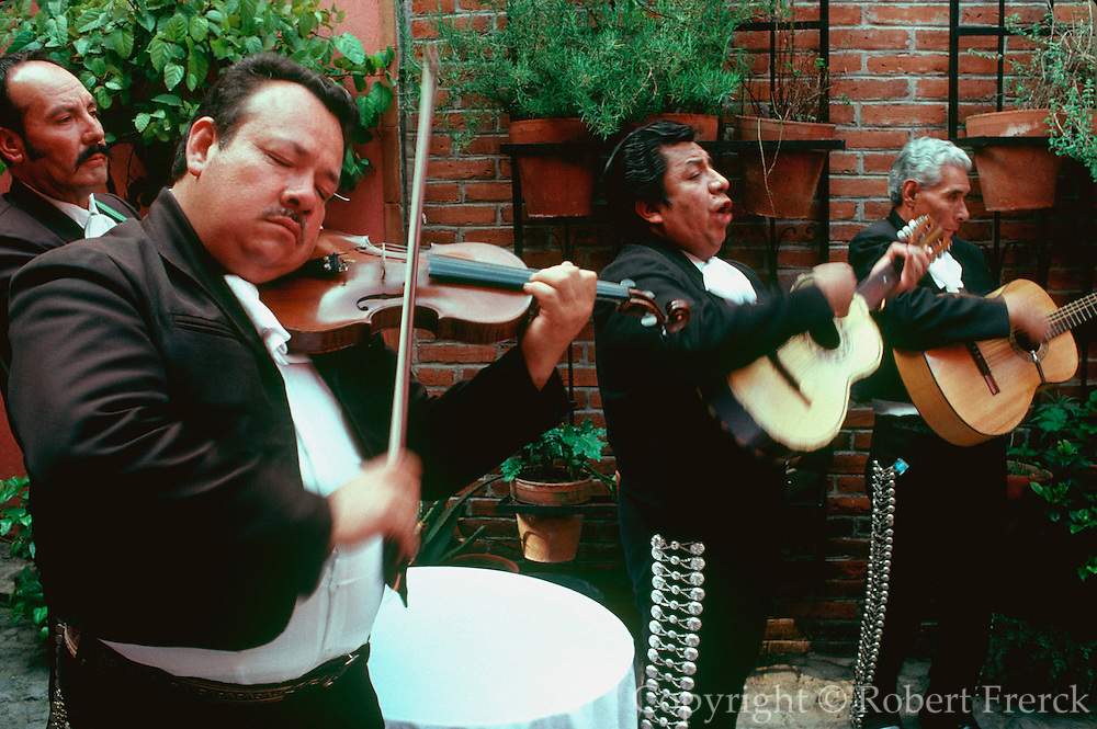MEXICO, MEXICO CITY, INTERACTIONS Mariachi Band playing at a birthday party in the San Angel area of Mexico  City