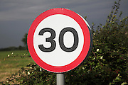30 miles per hour circular road traffic sign, UK