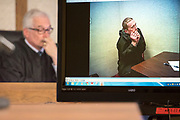 Judge Trevor N. Stephens listens to Joshua Bliss describe the position homicide victim, Richard Branda, fell into after Bliss stabbed him in the neck area during a jury trial on June 19, 2018 at Ketchikan Superior Court in Ketchikan, Alaska.