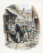The Artful Dodger picking a pocket to the amazement of Oliver Twist. Illustration by George Cruikshank (1792-1878) for Charles Dickens 'Oliver Twist' 1837-1839.