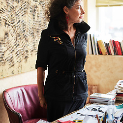 Viviane Hamy, posing in her office. She is the head of Editions Viviane Hamy, an independent French publishing house. Paris, France. July 11, 2018. <br /> Viviane Hamy, posant dans son bureau. Elle dirige les Editions Viviane Hamy, une maison d'edition independante. Paris, France. 11 juillet, 2018.