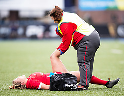 Kelsey Jones of Wales receives medical attention<br /> <br /> Photographer Simon King/Replay Images<br /> <br /> Six Nations Round 1 - Wales Women v Italy Women - Saturday 2nd February 2020 - Cardiff Arms Park - Cardiff<br /> <br /> World Copyright © Replay Images . All rights reserved. info@replayimages.co.uk - http://replayimages.co.uk