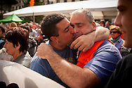 "Mikel Arretxe kisses his father. Mikel is one of  the 8 young persons who have been sentenced to six years in jail. They have been sentenced for having been members of the Basque pro-independence youth organization SEGI ('Keep on' in basque language). Donostia-San Sebastian (Basque Country) April, 16th 2013. As an arrest warrant was issued against them and they could be arrested any time, young supporters gathered them to prevent them from being arrested. The sentence stated: ""Membership to terrorist organization"". (Gari Garaialde/Bostok Photo)"