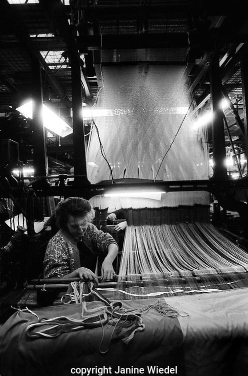 Gainsborough Silk Weaving Company in 1990 first established as jacquard weaving mill in 1903 in Sudbury Suffolk UK
