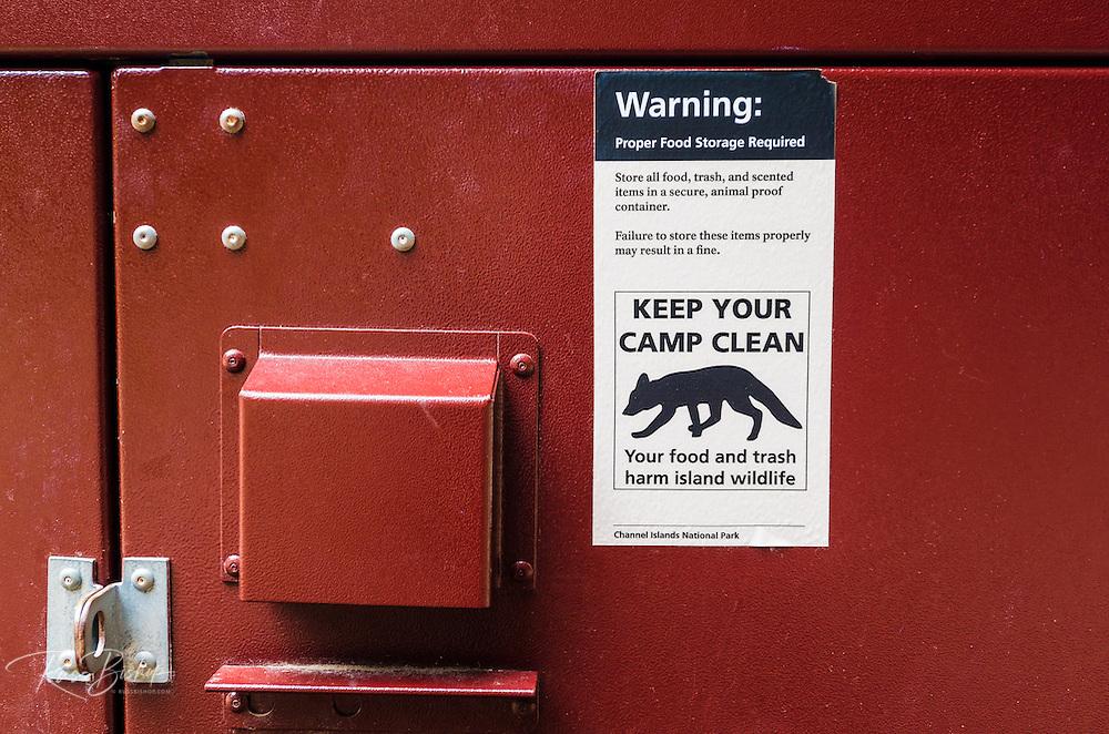 Food storage locker at Scorpion Canyon Campground, Santa Cruz Island, Channel Islands National Park, California USA