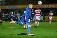 AFC Wimbledon striker Joe Pigott (39) about to volley the ball during the The FA Cup match between AFC Wimbledon and Doncaster Rovers at the Cherry Red Records Stadium, Kingston, England on 9 November 2019.
