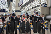 Returning from  Royal Ascot, from Waterloo station, Thursday 16 June 2016